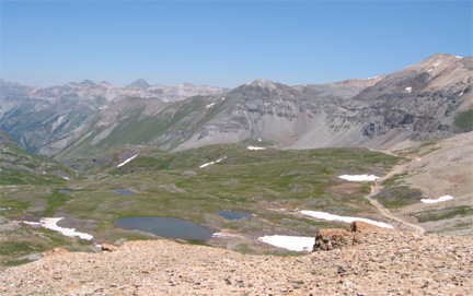 View west from Black Bear Pass