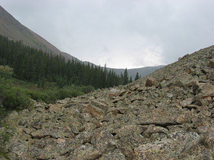 View of Calico Pass ridge from above last trail marker