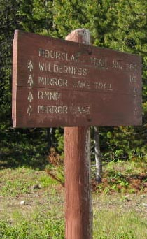 Hourglass trail sign